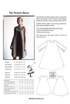 Trapeze Dress Pattern multi-size | Merchant & Mills: British co with lots of interesting pieces