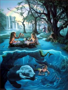 I like the idea of a mermaid or two having a tea party