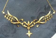 Antique-14K-Yellow-Gold-Pearl-Flower-Victorian-Lavalier-Necklace-Estate-Jewelry
