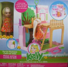 """Barbie KELLY Pop Up Playhouse Playset - Tree House & Back Yard w Kelly Doll & MORE! (2006) by Mattel. $189.99. Includes: Kelly Doll approx. 5.5"""" tall w/blond hair & violet eyes; doll wears floral orange Dress, & pink Sandal Shoes. Set comes w/a Pop-Up Playhouse in Carry Case that opens & folds up for easy carry take along fun & storage.. Carry Case pops open & rooms pop up! Furniture pops out from walls! Tree House with Ladder! Backyard, Bedroom w/Canopy Bed, Kitchen Playr..."""