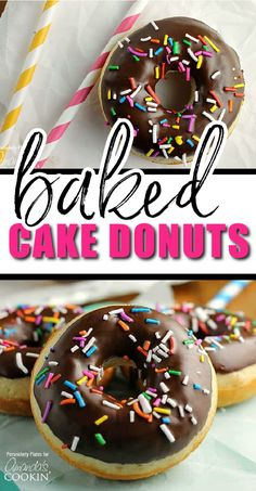 Make these really simple baked donuts quickly during the week or as a weekend treat to win points with your kids or just make yourself happy! One of our favorite breakfast ideas! #amandascookin #breakfastideas Donut Recipes, Egg Recipes, Cooking Recipes, Best Breakfast Recipes, Brunch Recipes, Breakfast Ideas, Baked Donuts, Doughnuts