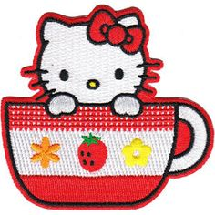 Hello Kitty Tea Cup Applique by PatchesStampsnMore on Etsy, $4.99
