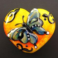 Lampwork Butterfly Heart Focal Bead by Kerribeads