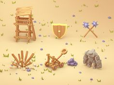 Dribbble - low poly icons by Rafał Urbański Ios App Design, App Design Inspiration, Low Poly Models, Game Icon, Game Assets, 3d Artist, 2d Art, Art Portfolio, Game Design