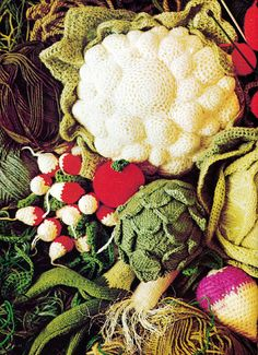 Vegetables: 1970s Vintage Crochet  & Knitting Pattern