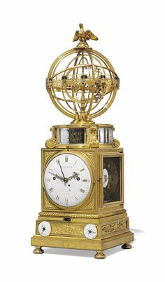 c1770-75 A LOUIS XVI ORMOLU STRIKING TABLE CLOCK WITH CALENDAR, MOONPHASE, EQUATION OF TIME AND TERRESTRIAL SPHERE MOUVANTE |