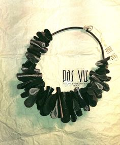 handmade metallized leather necklace