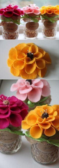 Цветы из ткани в горшочке / Цветы из ткани своими руками и вязанные крючком. Заколки для волос / Ёжка - стихи, загадки, творчество и уроки рисования для детей