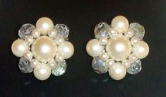 1206~Rare Vintage Signed EUGENE Silvertone Faux Pearl Crystal Bead Clip Earrings #Eugene #Cluster