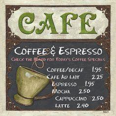 Cafe Chalkboard by Debbie DeWitt #coffee #art #cafe