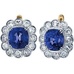 Preowned Burmese No Heat Blue Sapphire Diamond Gold Platinum Drop... ($104,000) ❤ liked on Polyvore featuring jewelry, earrings, blue, sapphire drop earrings, gold earrings, gold diamond earrings, 18 karat gold earrings and 18k yellow gold earrings