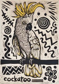 Cockatoo by Bruce Goold, Aust on Josef Lebovic Gallery Linocut Prints, Art Prints, Australian Birds, Bird Drawings, Cockatoo, Wildlife Art, Bird Art, Letterpress, Printmaking