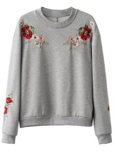 Women Embroidered Sweatshirt With Embroidery Gift For Her