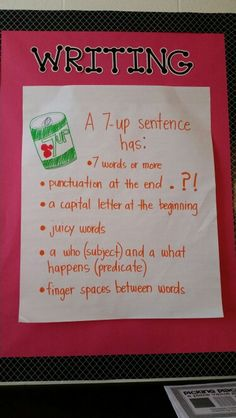 We talk about how four word Sentences are a great place to start. Helps them to add adjectives and adverbs to their writing. {split subject/predicate bullet up to make total of 7 bullets} Writing Strategies, Writing Lessons, Writing Resources, Teaching Writing, Kids Writing, Writing Worksheets, Kindergarten Writing, Writing Process, Student Teaching