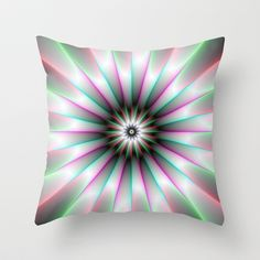 A Digital abstract fractal image with a beaming flower design in green pink turquoise and white.