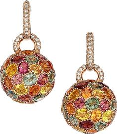 Multi-Stone, Diamond, Pink Gold Earrings.