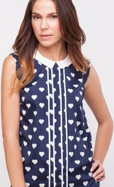 Trending striped heart peter-pan-collar sleeveless tops via Valentine Day Special, Shell Tops, Contrast Collar, Heart Print, Topshop, Tops Online, Sleeveless Tops, Peter Pan, Oasis
