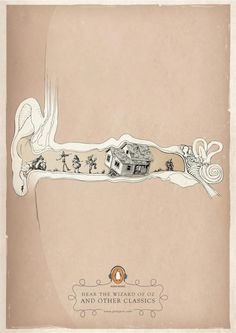 Penguin Audio Books Ads  Same classical, authentic style and illustrated ear :)