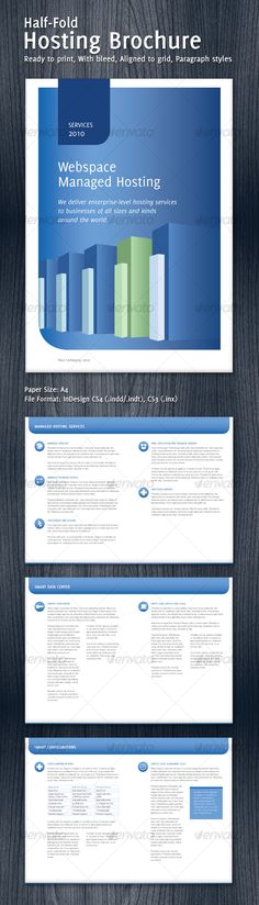 3 Fold Brochure Template with 6 Color Variations Brochure - half fold brochure template