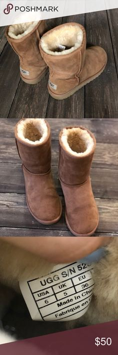 Women's classic short UGG boots Size 6. Yes, authentic.  Color is most like the first picture-the rest look lighter from lighting  I will say I'm 8.5 and these fit (tight) so they run bigger in my opinion (I measured the bottom sole from back to front: approx 12inches in length) Guc with normal wear-please see all pics No rips, tears or stains (flaw I see is streak in bottom of boots) Bundle for private offer  Reasonable offers only please  Low balls not considered UGG Shoes Ankle Boots…