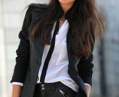 Helmut Lang Magma blazer   BCBG Max Azria Emma stitched-collar silk top
