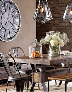 Create a warm industrial living space Warm Industrial dining room - table & chairs & lighting Dining Room Table Chairs, Dining Room Lighting, Dining Room Design, Dining Furniture, Dining Rooms, Table Bench, Dining Set, Bistro Chairs, Bench Seat
