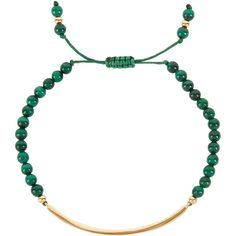 Lola Rose Bishops Road malachite beaded bracelet featuring polyvore, women's fashion, jewelry, bracelets, beading jewelry, green jewelry, lola rose jewellery, gold tone jewelry and beaded bangles