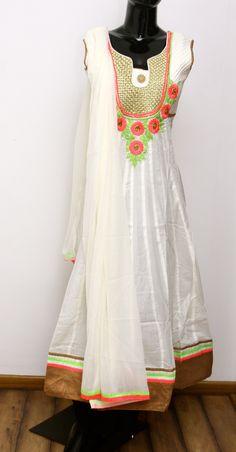 Cotton Anarkail Pure Chiffon Dupatta with Applique Work
