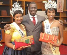 Master of Ceremonies with the two beautiful crowned ladies of the evening. At Childbirth Survival International (CSI) annual fundraiser.