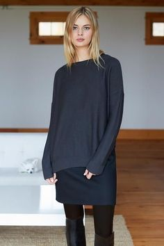 Return of a customer favorite! A multi layering piece for fall, this dress adds warmth w/o bulk. Wear under sweaters + over leggings or as a sleek LBD year arou