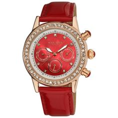 Akribos XXIV women's multifunction day, date, GMT watch. This timepiece features a rose-tone case and sizzling crystals on bezel and dial. A red patent strap completes this watch