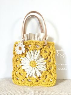 Hippie Crochet, Crochet Daisy, Crochet Tote, Crochet Purses, Crochet Shoulder Bags, Flower Bag, Summer Bags, Cotton Bag, Handmade Bags