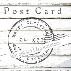 Merry Christmas Postcard Stamp Instant by GraphicMarketplace