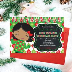 Ugly Sweater Christmas Party Tacky Sweater by PrintYourInvite Tacky Sweater, Ugly Sweater Party, Ugly Christmas Sweater, Printable Invitations, Party Printables, Holiday Party Invitations, December 22, Christmas Printables, Winter Holidays