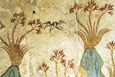 "Minoan: Spring Fresco, ca. 1650 BCE. From Room Delta 2, Akrotiri, Thera, Greece. ""It depicts the rocky Theran landscape before the volcanic eruption: clusters of red lilies with yellow stems dominate the red and gray volcanic formations, while swallows swoop above, alone or in flirtatious pairs, animating the scene and symbolically announcing nature's annual rebirth."" (© National Archaeological Museum, Athens, Greece)"