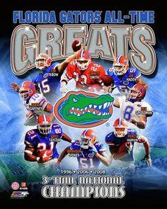 University of Florida Gators All Time Greats Composite Art Print, 8 x 10 inches Gator Logo, Florida Gators Football, Gator Football, Football Crafts, Funny Football, Best Football Team, College Football, College Sport, Gatos