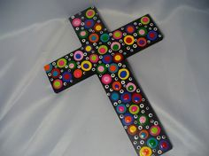 Wooden Cross  Hand painted and Polka Dots by bubblesandcompany, $20.00