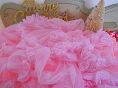 RESERVED vintage christmas tree skirt pale pink by polkadotrose, $95.00
