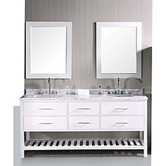 @Overstock - This 72-inch London vanity and sink set is elegantly constructed of solid oak wood. The white Carrara marble counter top and contemporary-styled cabinetry are sure to bring a sophisticated and clean look to any bathroom.  http://www.overstock.com/Home-Garden/Design-Element-London-72-inch-Double-Sink-Bathroom-Vanity-Set/6519313/product.html?CID=214117 $1,831.99
