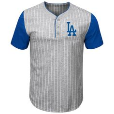 Men s Los Angeles Dodgers Majestic Gray Royal Life Or Death Pinstripe  Henley T-Shirt bd972bbe8
