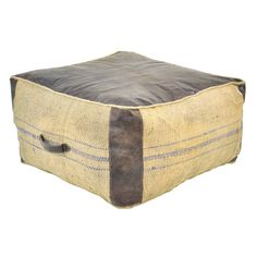 Weathered pouf with leather and jute detail. Product: Pouf  Construction Material: Leather and jute  Color...