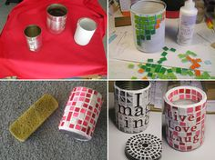 Mosaic Tin Can Containers - Handimania