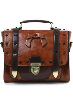 Studs Satchel Bag in Brown - New Arrivals - Retro, Indie and Unique Fashion