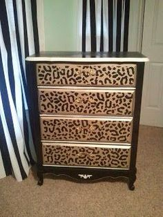 Nadire Atas on Leopard and Other Prints I love dresser upcycles. And in a small home dressers instead of plain side tables are good for storage Animal Print Furniture, Animal Print Decor, Animal Prints, Furniture Makeover, Diy Furniture, Do It Yourself Inspiration, Decoration Originale, Cheetah Print, Leopard Prints