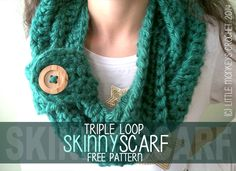 Crochet Scarf, Triple Loop Skinny Infinity Scarf with Button (click here for FREE Crochet Pattern!) ✿Teresa Restegui http://www.pinterest.com/teretegui/✿
