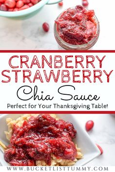 This Cranberry Strawberry Chia Sauce is the perfect, hearty combination of tangy and sweet. This will be a perfect addition for your Thanksgiving table. #thanksgivingrecipes #homemadecranberrysauce #healthycranberryrecipes #healthycranberrysauce