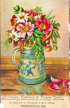 -CatnipStudioCollage-: Free Vintage Clip Art - Colorful Vases of Flowers