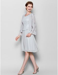 Sheath/Column Mother of the Bride Dress - Silver Knee-length Long Sleeve Chiffon – USD $ 139.99
