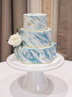 All buttercream cake with a slate blue marble design. This marble design is amazing and the flower on the side ties it all together so well! This cake was made by Capital Cakes in Raleigh, NC. Healthy Birthday Cakes, Cute Birthday Cakes, 16th Birthday, Buttercream Cake, Fondant Cakes, Blue Cakes, Traditional Cakes, Marble Cake