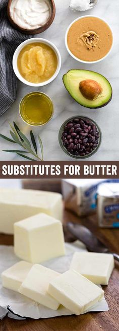 Healthy substitutes for butter in baking that can be easily incorporated into recipes. It may be surprising to see beans, avocado, and applesauce as replacements, but they work! This guide provides 8 alternative butter options and how to use them. Replace Butter In Baking, Butter Substitute For Cookies, Enchiladas, Quinoa, Canned Applesauce, Avocado Butter, Food Substitutions, Easy Healthy Breakfast, Healthy Baking